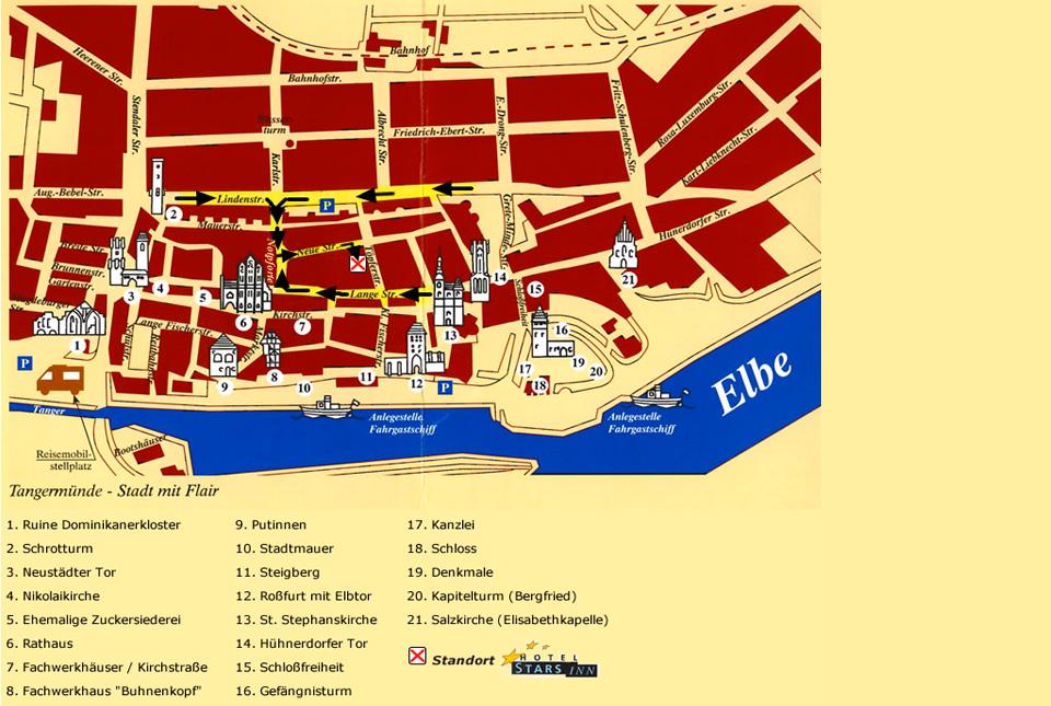 Stadtplan von Tangermünde mit allen Sehenswürdigkeiten
