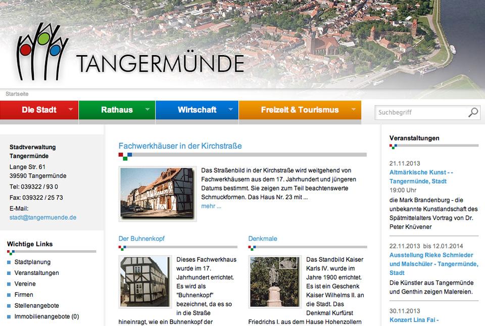 Internerinformation der Stadt Tangermünde